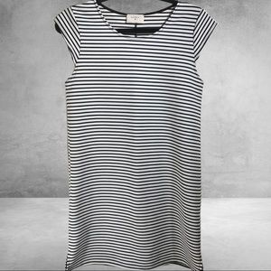 Everly Mid-Length Stripe Dress with Cap Sl…
